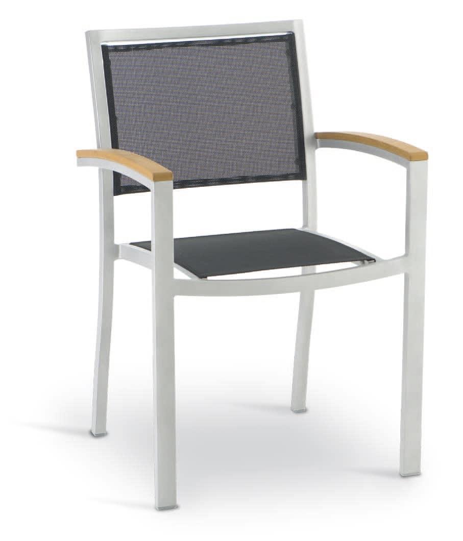 PL 465, Sedia con braccioli, in alluminio, textilene e legno