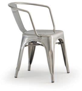 PL 500 / EST, Sedia impilabile con braccioli, in metallo verniciato