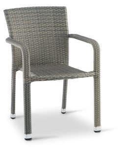 PL 730, Sedia con braccioli in alluminio intrecciato, per esterno