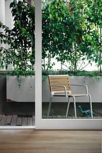 Rest, Sedia in alluminio con seduta in poliestere, per esterni