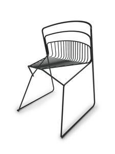 Ribelle sedia, Sedia interamente in tondino d'acciaio, per interni/esterni