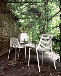 Rion 851 Sedia, Sedia in alluminio, con motivo verticale, per giardini