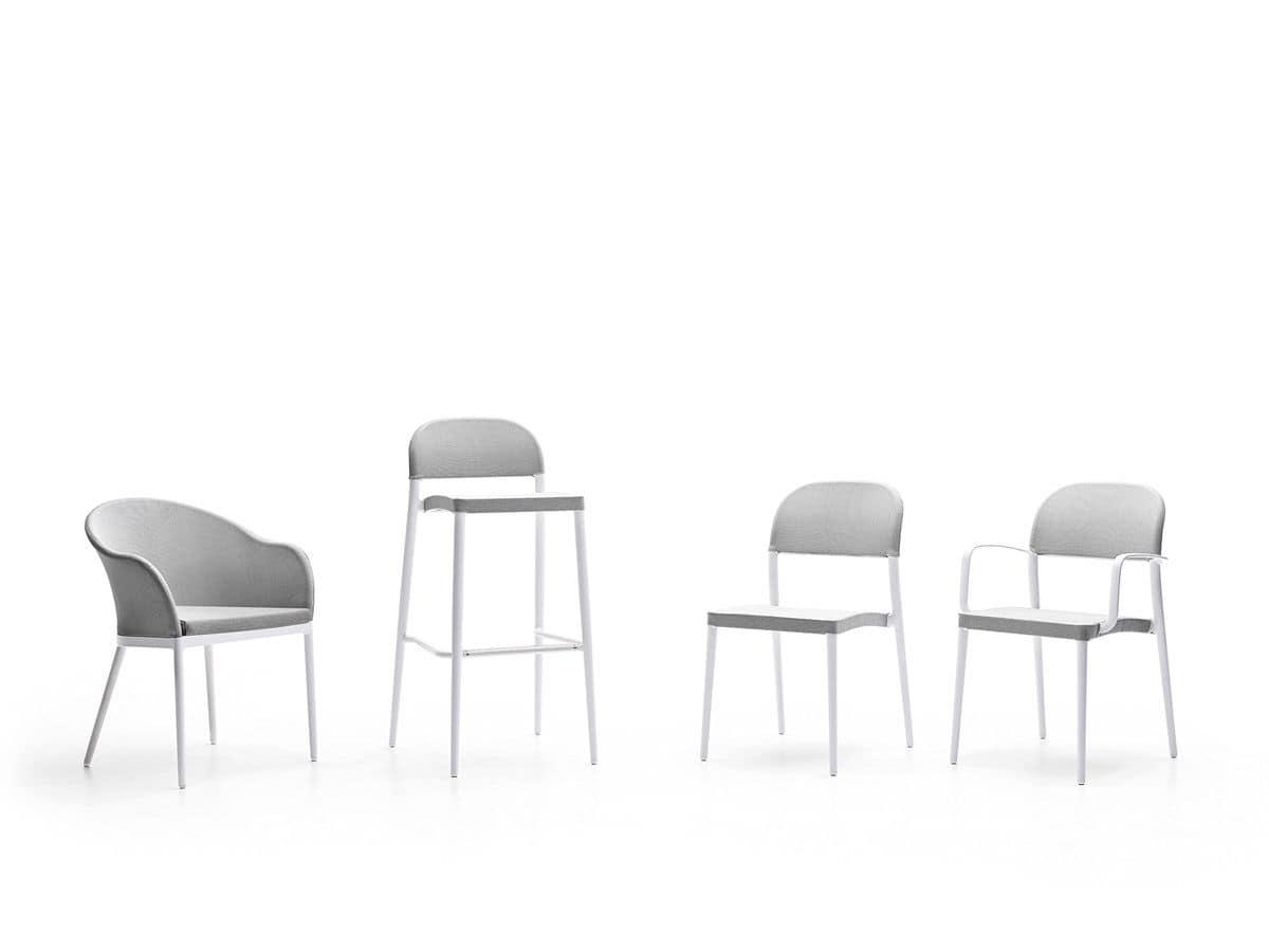 Sedia con braccioli da esterno in alluminio e tessuto for Sedie design con braccioli