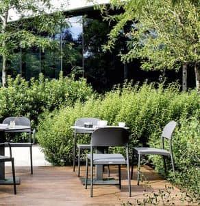 Saia sedia, Sedia impilabile da esterno, in alluminio e tessuto traforato