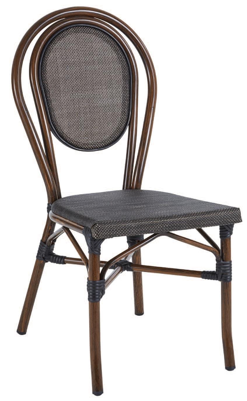 SE 411, Sedia impilabile in alluminio e textilene, in stile bamboo