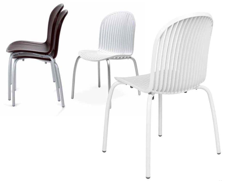 Sedie In Alluminio E Plastica.Sedia Con Gambe In Alluminio E Scocca In Plastica Ideale Per