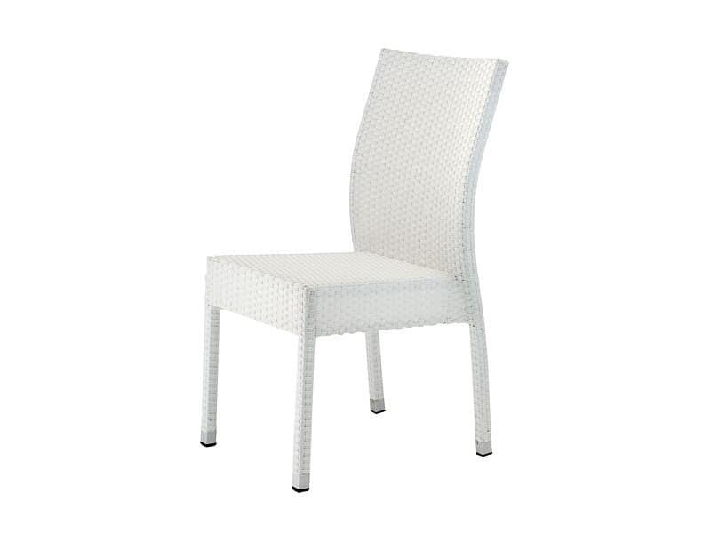 Sedia impilabile in alluminio e pvc per giardini idfdesign