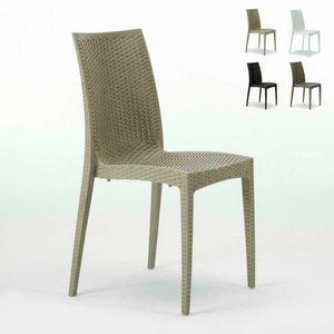 Sedia giardino intrecciata resina bar � S6380, Sedia in rattan intrecciato, impilabile, certificata EN