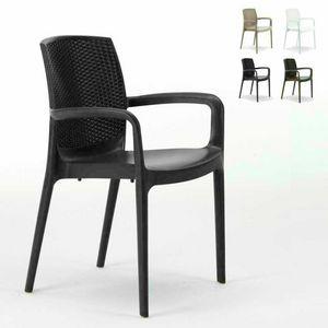 Sedia impilabile con braccioli esterno rattan – S6618, Sedia in resina di alta qualità, impilabile, per esterni