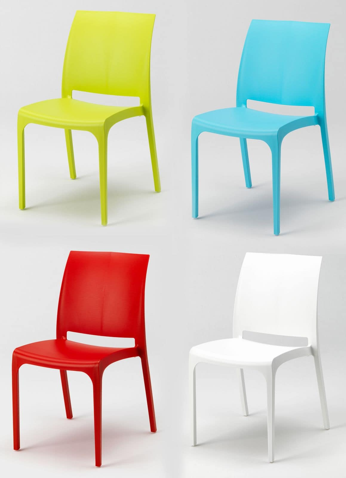 Sedia impilabile in plastica per esterni idfdesign for Sedie design colorate