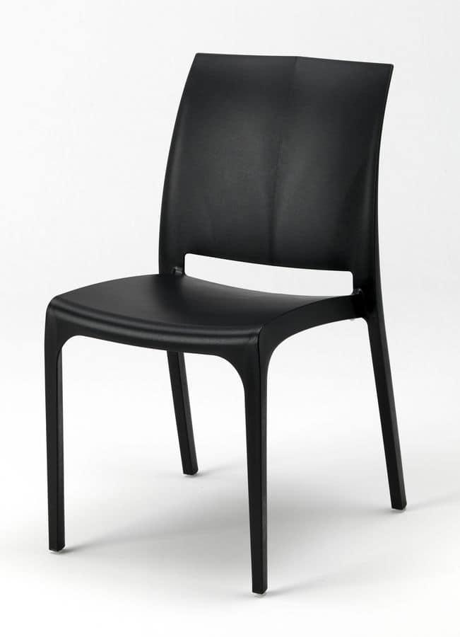 Sedia impilabile in plastica per esterni idfdesign for Sedie impilabili plastica