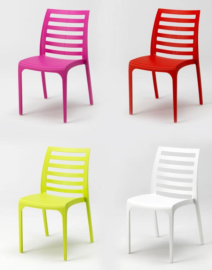 Sedie In Resina Colorate.Sedia Impilabile In Plastica Per Esterni Idfdesign
