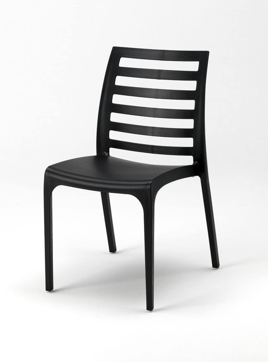 Sedia impilabile in plastica per esterni idfdesign - Mobili in plastica per esterni ...