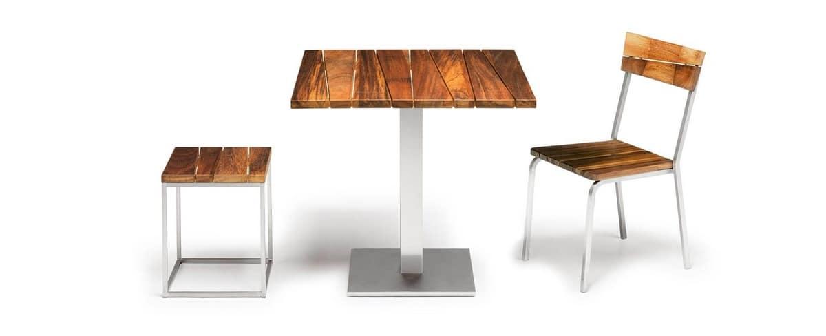 Sorrento/s, Sedia da esterno, in legno iroko e acciaio, impilabile