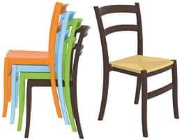 Telma, Sedia in plastica, in vari colori, per bar all'aperto