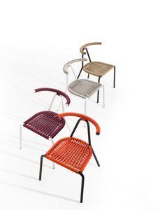 Toro outdoor, Sedia in metallo per esterno, con schienale intrecciato