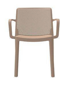 Traforata - P, Sedia per esterni, con braccioli, impilabile, in polipropilene