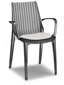Tricot, Sedia moderna in policarbonato, impilabile, per giardino