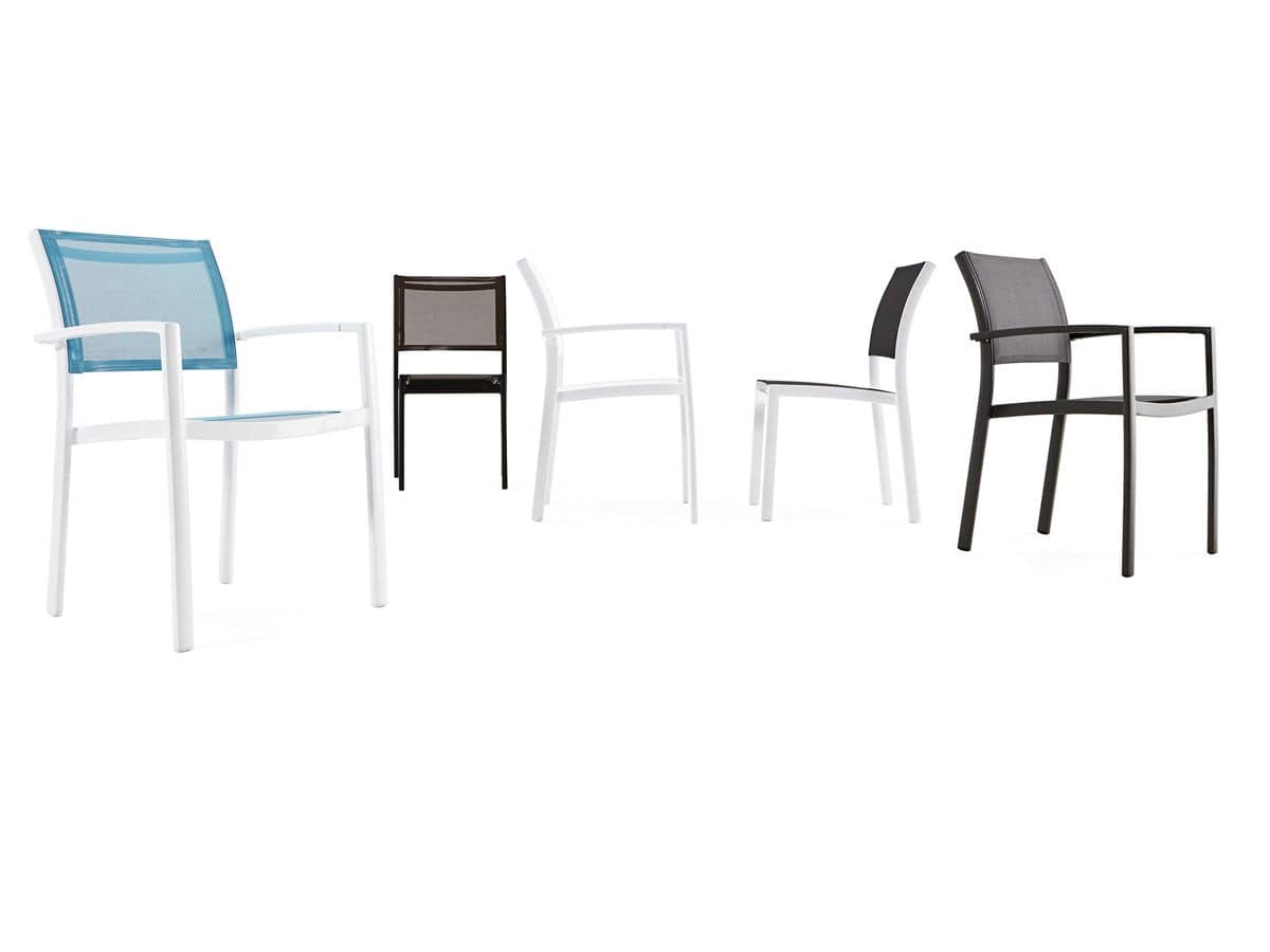 Sedia in alluminio tessuto traforato batyline per for Sedie alluminio design