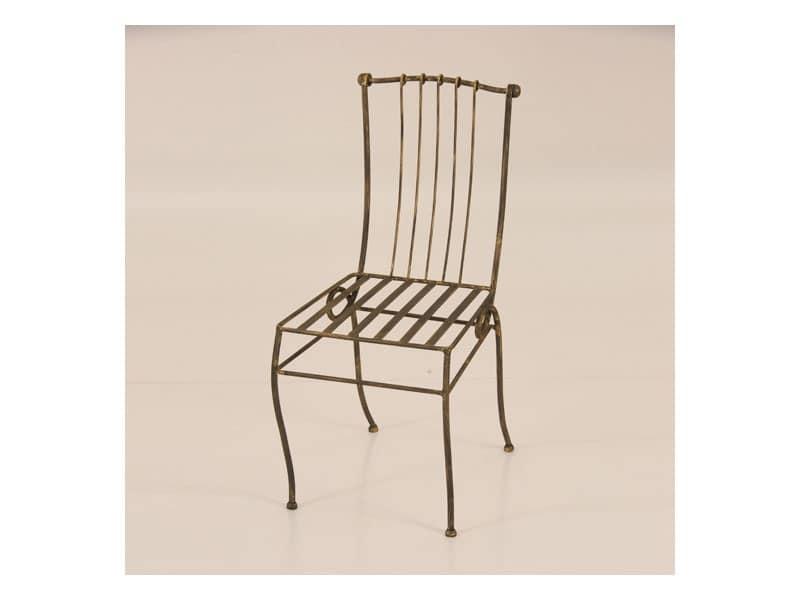Sedia per esterno in ferro battuto senza braccioli for Sedie per esterno in ferro
