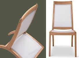 Wave sedia - textilene, Sedia in legno e materiale plastico, per esterni