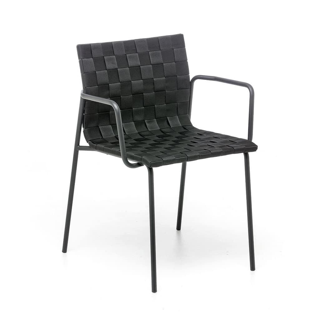 Sedia per esterno con braccioli scocca intrecciata con for Sedie outdoor design