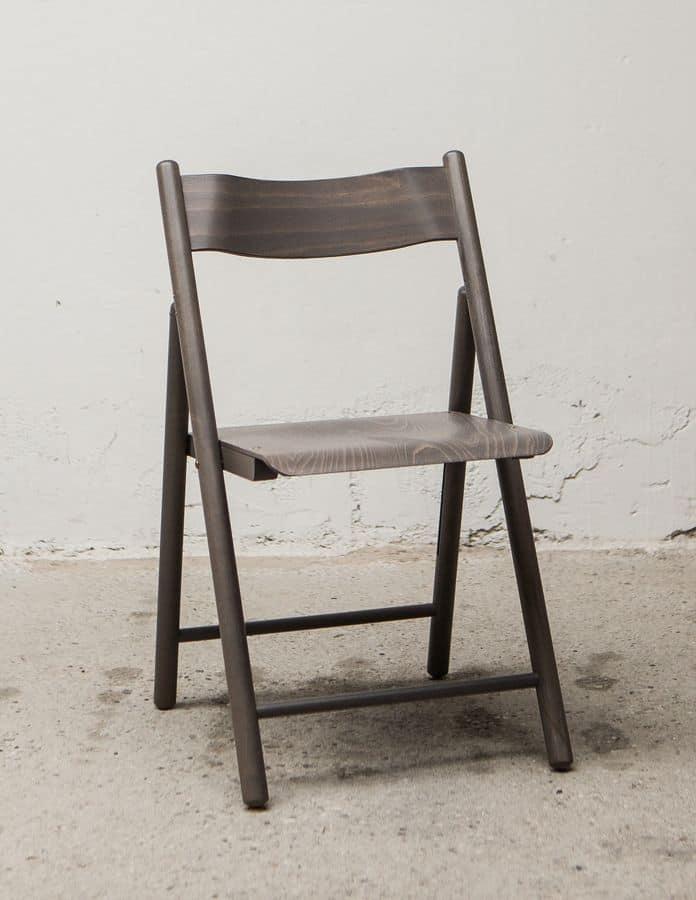 Leggera sedia pieghevole in legno di faggio idfdesign - Sedie pieghevoli design ...