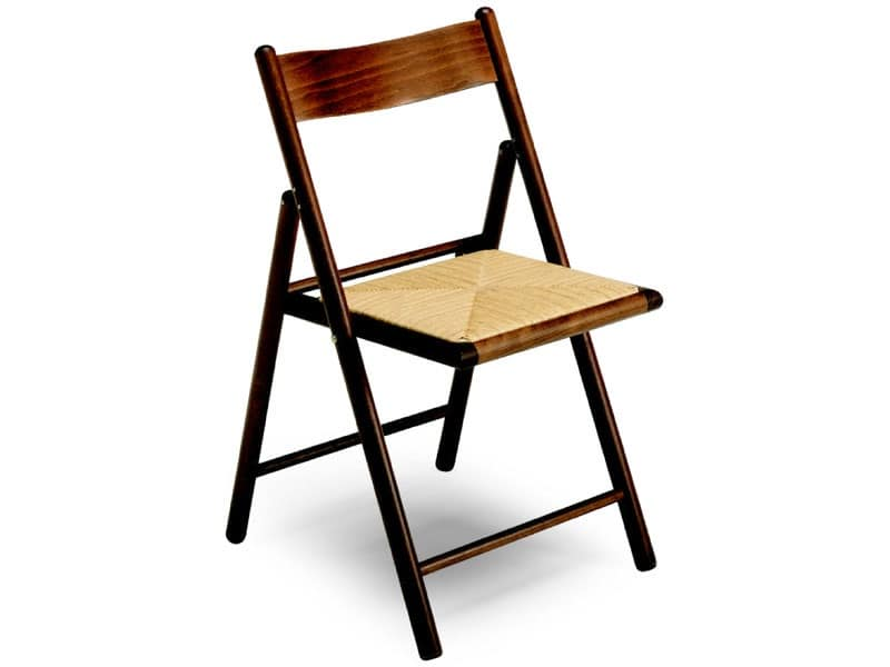 185 F , Sedia con struttura pieghevole, seduta in paglia