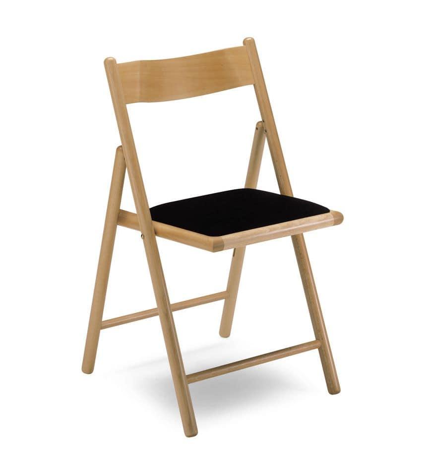 Sedia pieghevole con seduta imbottita in faggio idfdesign - Sedia pieghevole imbottita ...