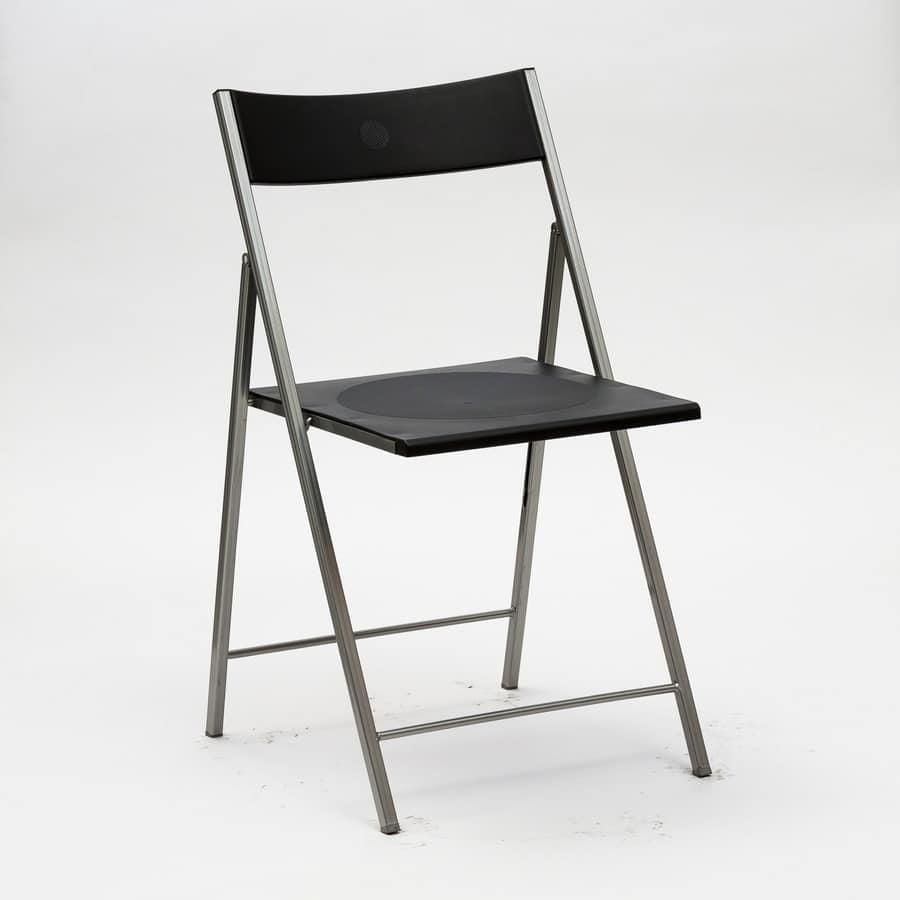 Art. 465 Steel, Sedia per cucina, pieghevole, in metallo e polipropilene