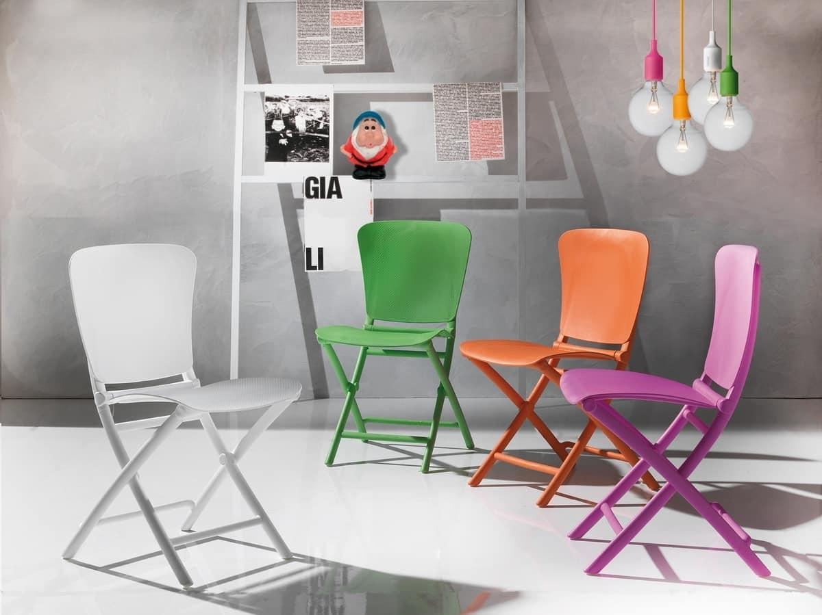 Sedia pieghevole in polipropilene colorato anche per esterni idfdesign - Sedie plastica design ...