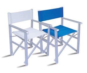 CHAT67, Sedia da regista in alluminio, seduta e schienale in PVC