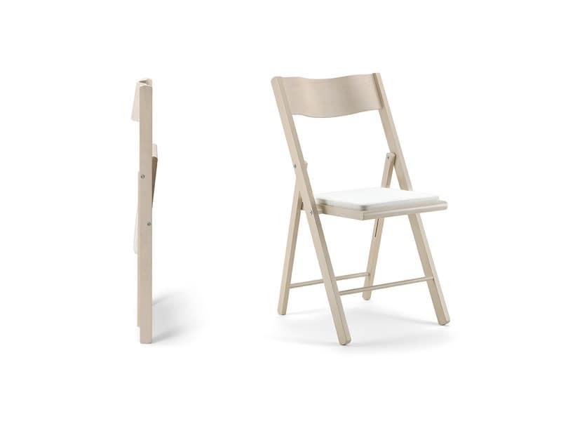 Sedia pieghevole in legno, seduta imbottita, per eventi  IDFdesign