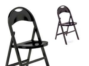 Naima, Elegante sedia richiudibile, in legno scuro
