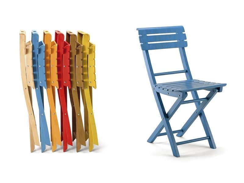 Sedia pieghevole in legno vari colori idfdesign for Sedie richiudibili