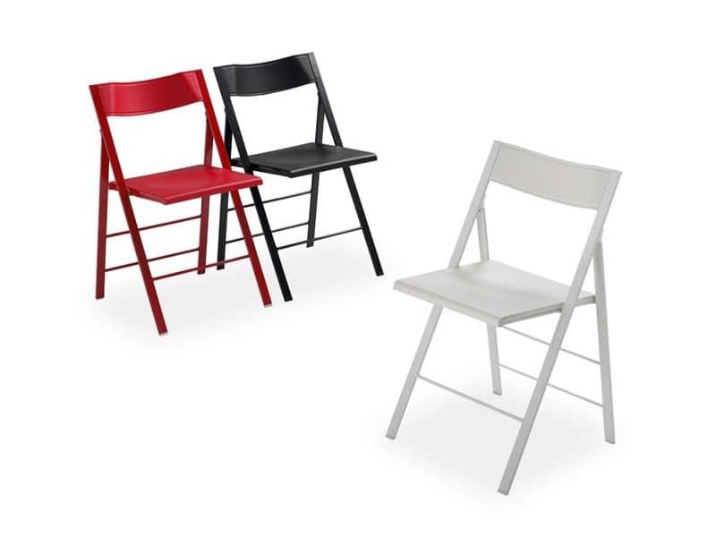 Leggera sedia pieghevole, disponibile in rosso, nero e bianco ...