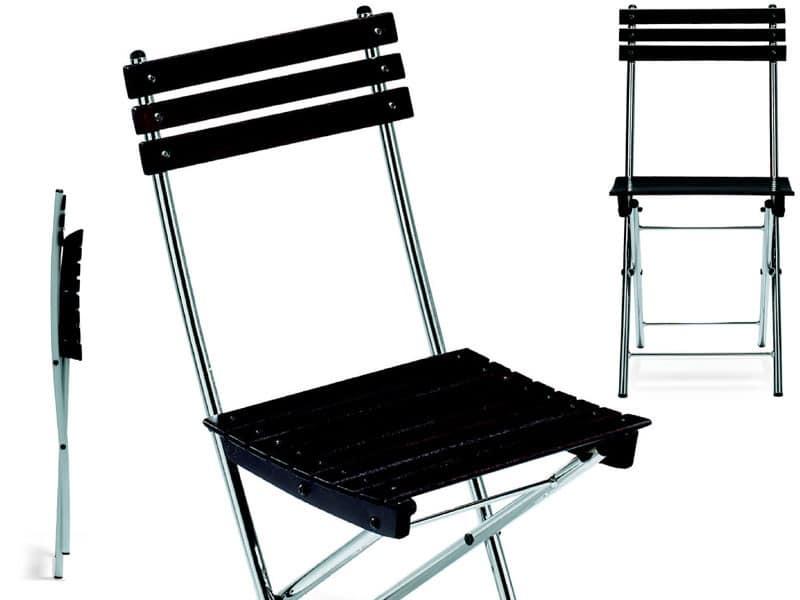 Sedia salva spazio in metallo e faggio per uso esterno for Sedie design metallo