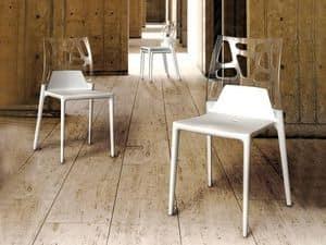 1706, Sedia in plastica e fibra di vetro per esterno