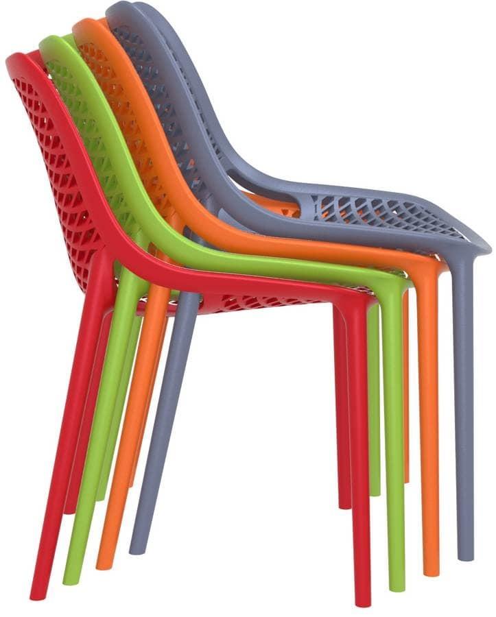 Sedia in polipropilene per esterni sedia impilabile in plastica per giardino idfdesign - Sedie plastica design ...