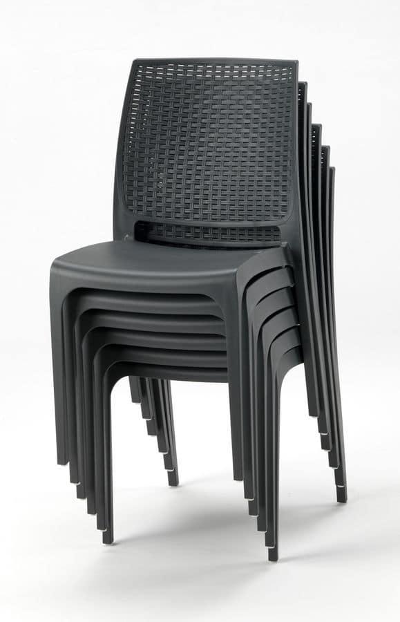 Sedia impilabile in plastica per esterni e giardini idfdesign - Sedie da giardino in plastica ...