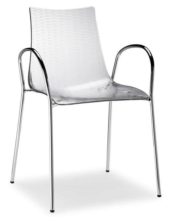 Sedia con braccioli antigraffio in metallo impilabile for Sedie plastica moderne