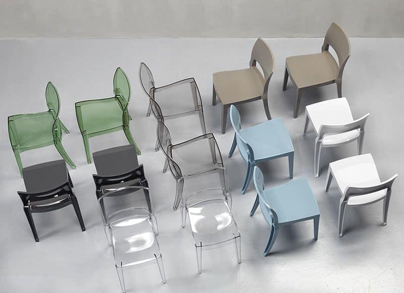 Isy Antishock, Sedia design in policarbonato, impilabile, diversi colori