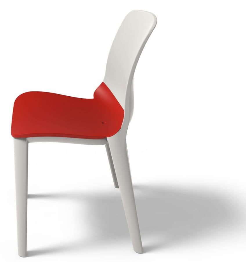 Sedia in polipropilene resistente ai raggi uv impilabile idfdesign - Sedia polipropilene impilabile ...