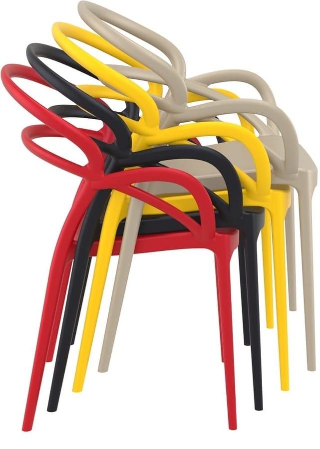 Marion, Sedia design in plastica, per bar e ristoranti