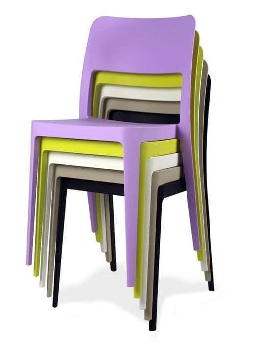 Sedie in plastica impilabili da interno o esterno idfdesign for Sedie impilabili plastica