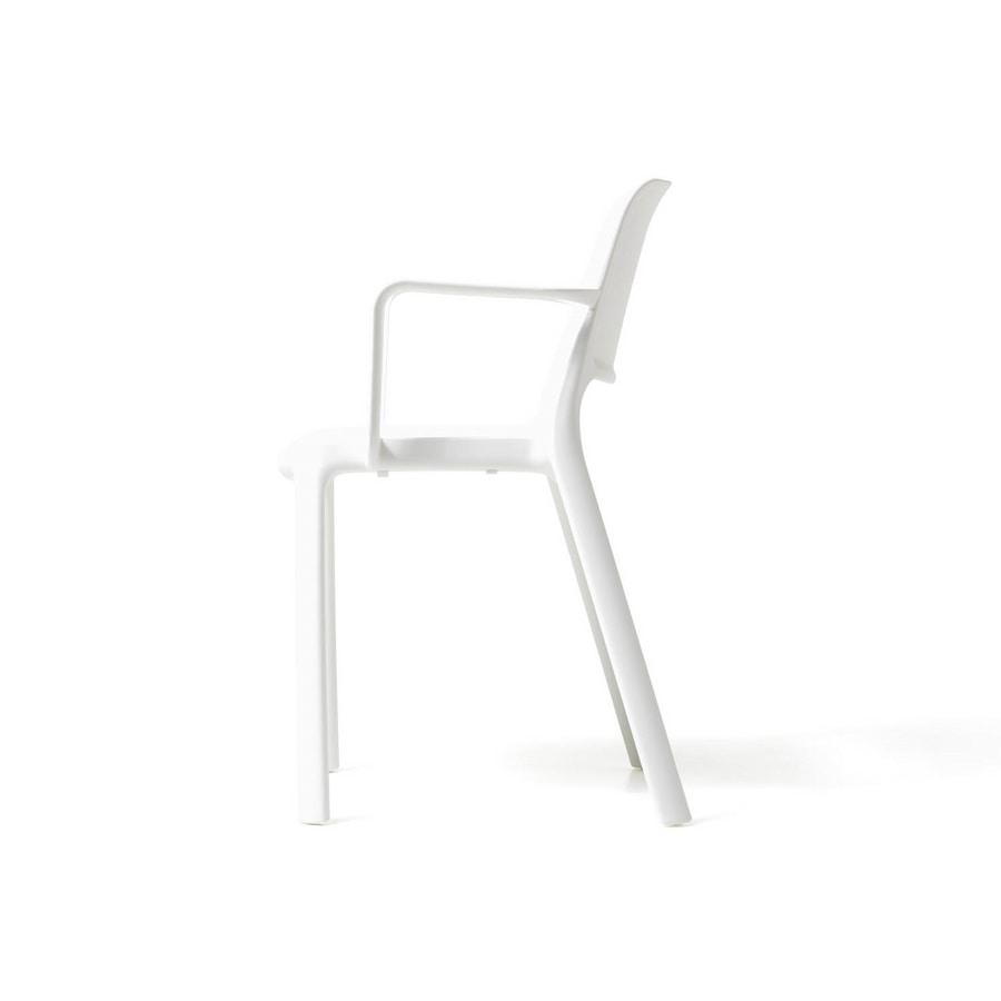 Nuke con braccioli, Sedia con braccioli, in plastica riciclabile, impilabile