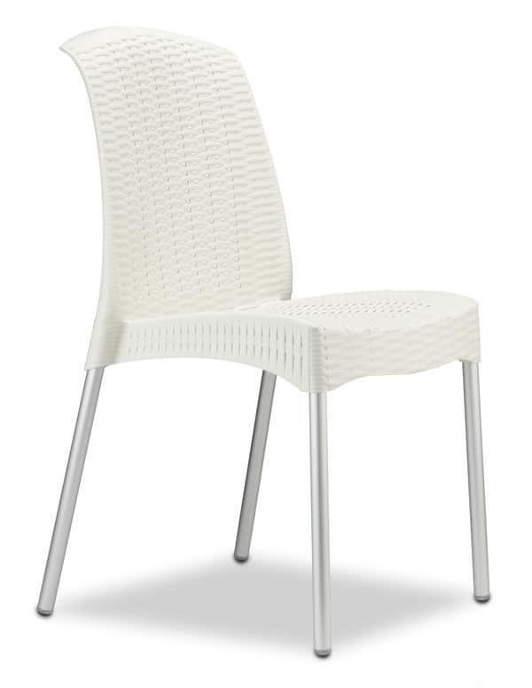 Olimpia Chair, Sedia in tecnopolimero ed alluminio, impilabile, anche per esterno