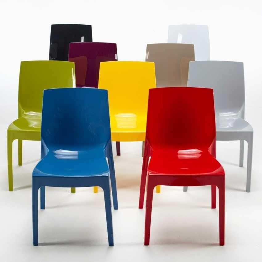 Sedia lucida cucina casa ICE – S6317, Sedia in plastica lucida, impilabile ed economica, disponibile in vari colori