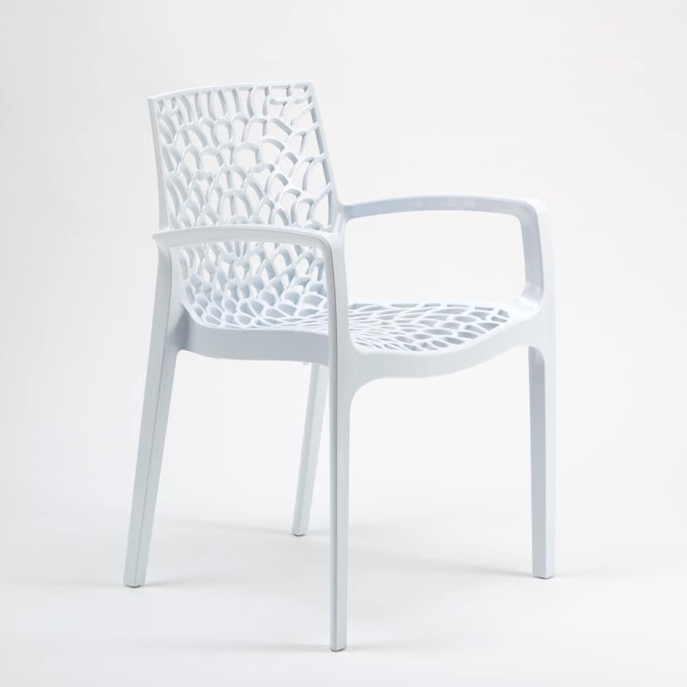 Sedia impilabile con braccioli in plastica lucida per - Sedie plastica design ...