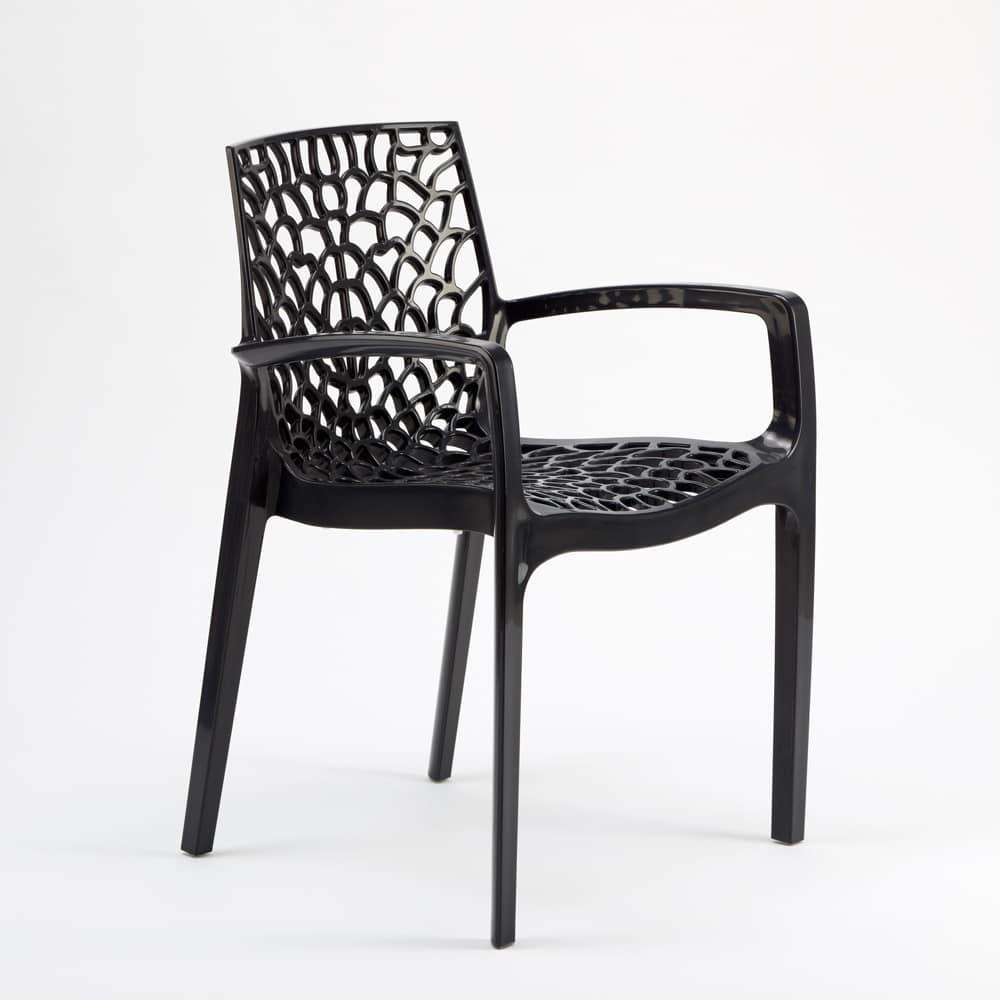 Sedia impilabile con braccioli in plastica lucida per for Feltrini antirumore per sedie
